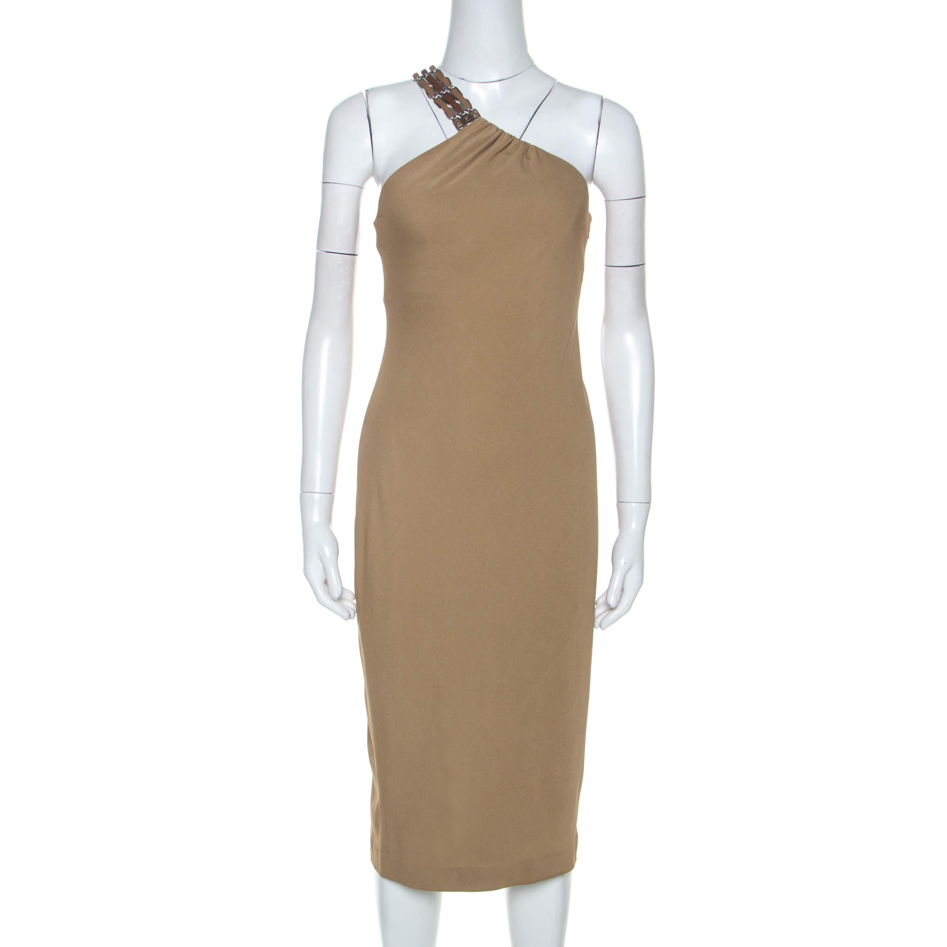 Ralph Lauren Khaki Stretch Knit One Shoulder Midi Dress S