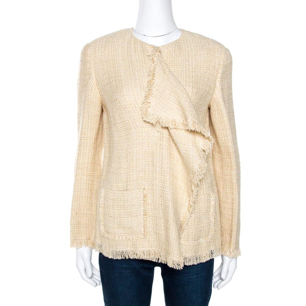 Ralph Lauren Beige Linen Silk Chantel Jacket M