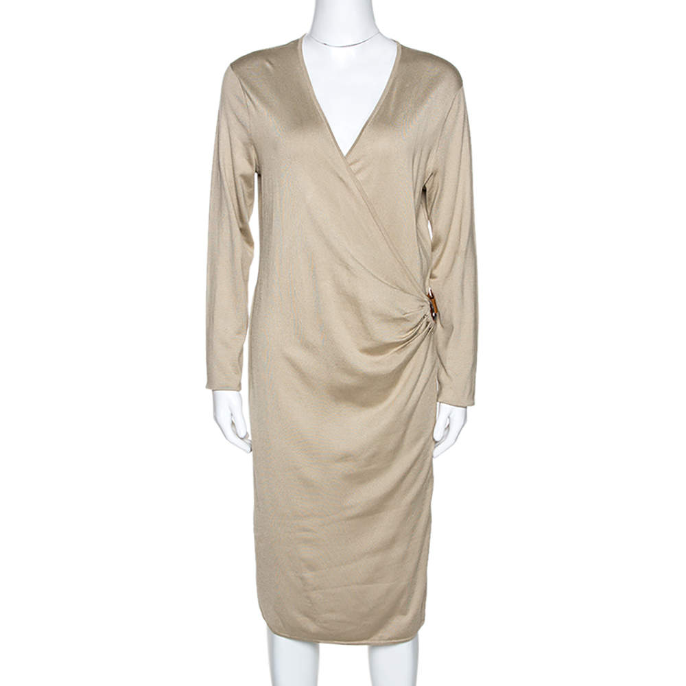Ralph Laurent Beige Silk Knit Leather Strap Detail Fitted Dress L