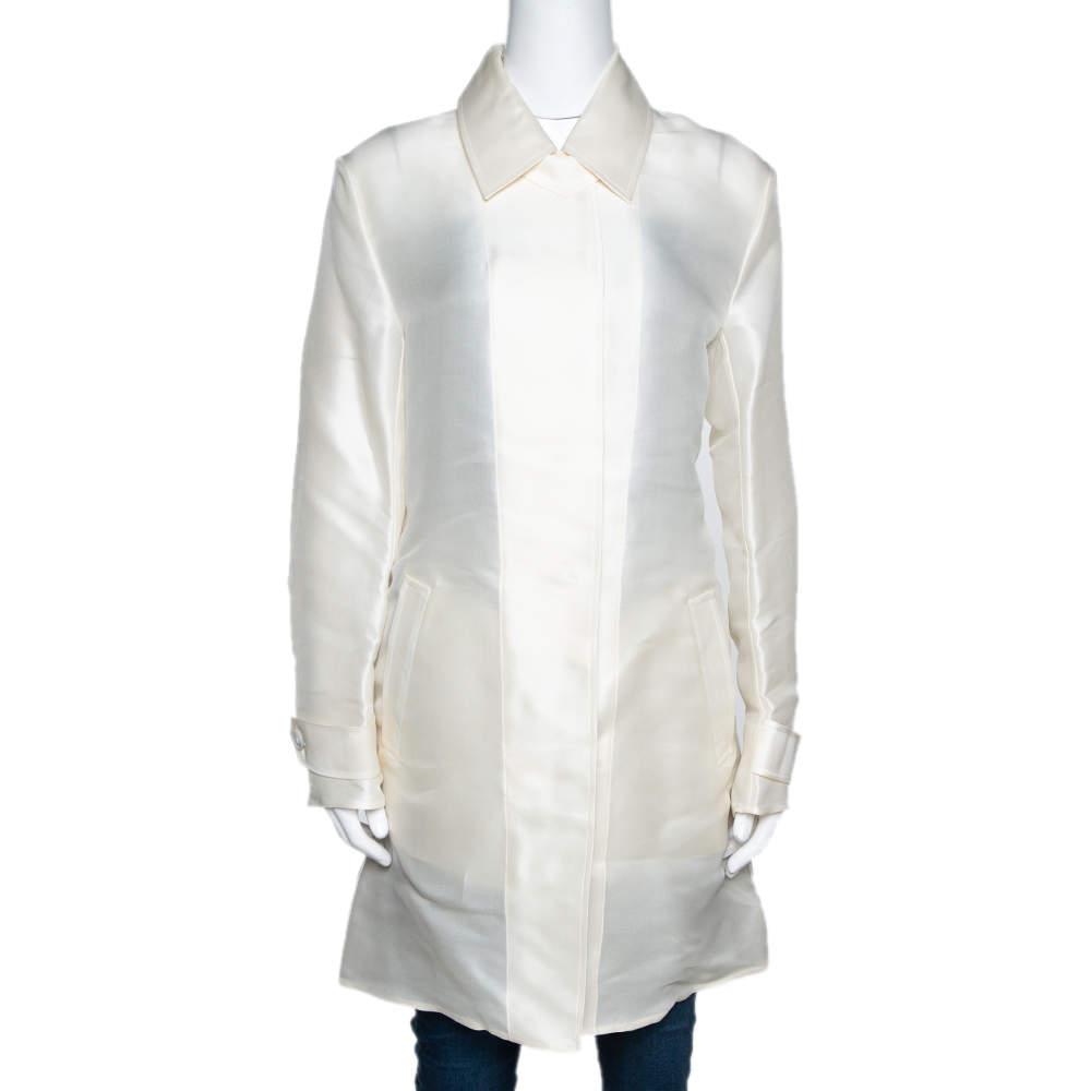 Ralph Lauren Ivory Silk Organza Wren Coat M