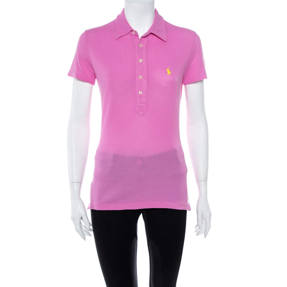 Ralph Lauren Pink Cotton Pique Polo T Shirt S