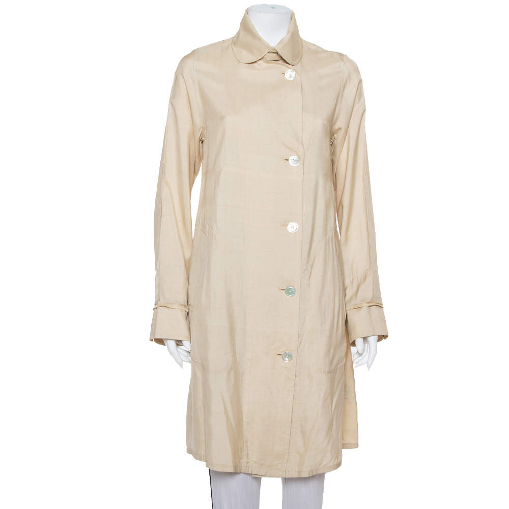 Ralph Lauren Beige Silk Button Front Lightweight Coat S