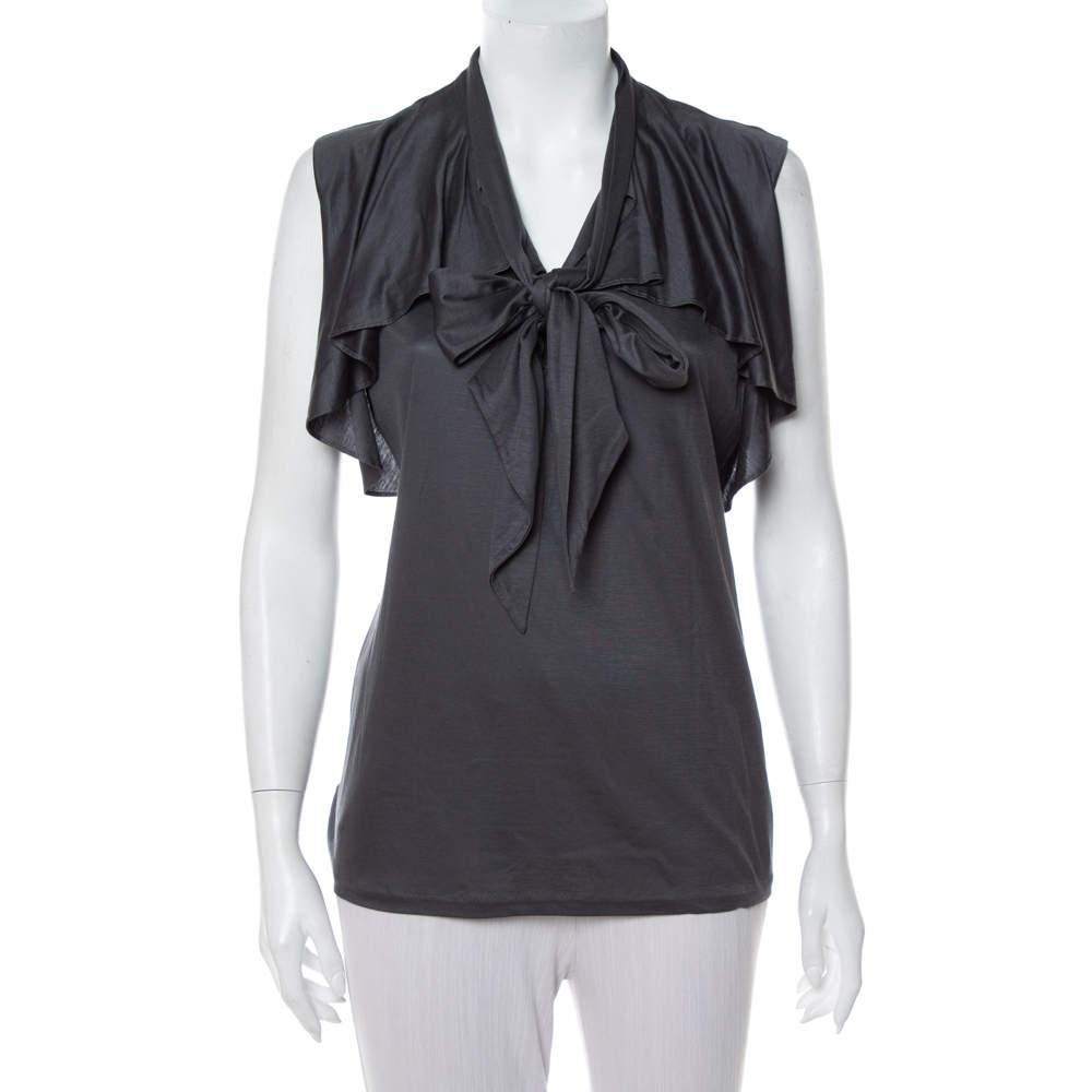 Ralph Lauren Dark Grey Lyocell Ruffled Neck Tie Detail Sleeveless Top L