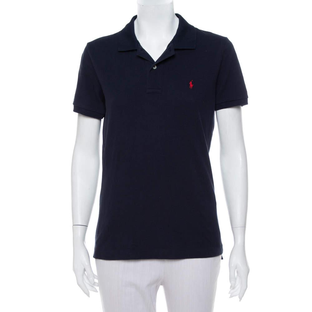 Ralph Lauren Navy Blue Cotton Pique Skinny Polo T-Shirt XL