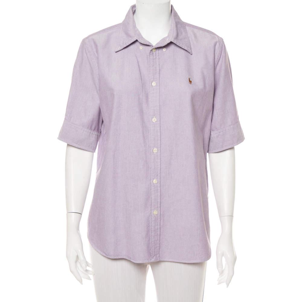 Ralph Lauren Purple Cotton Short Sleeve Button Front Shirt XL
