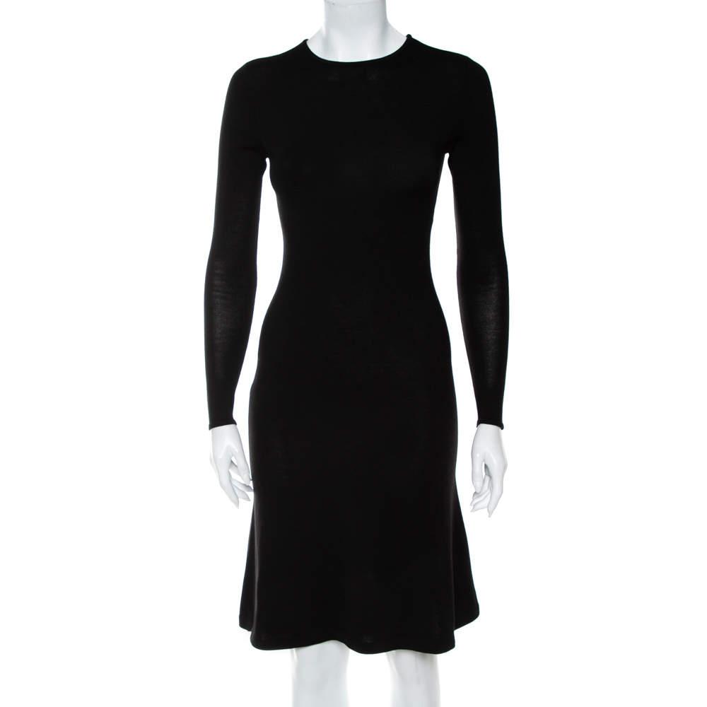Ralph Lauren Black Wool & Cashmere Sheath Dress S
