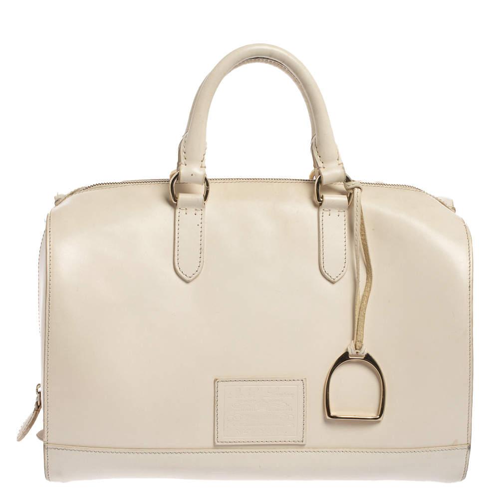 Ralph Lauren Cream White Leather Stirrup Boston Bag