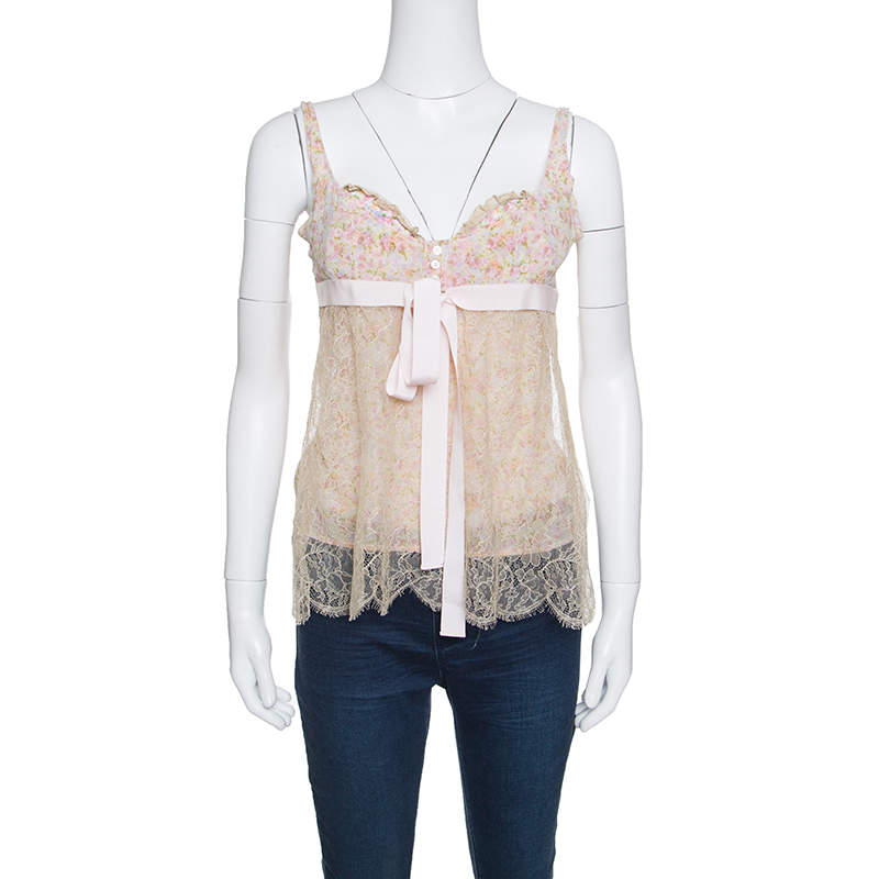 Red Valentino Floral Print Lace Overlay Camisole M