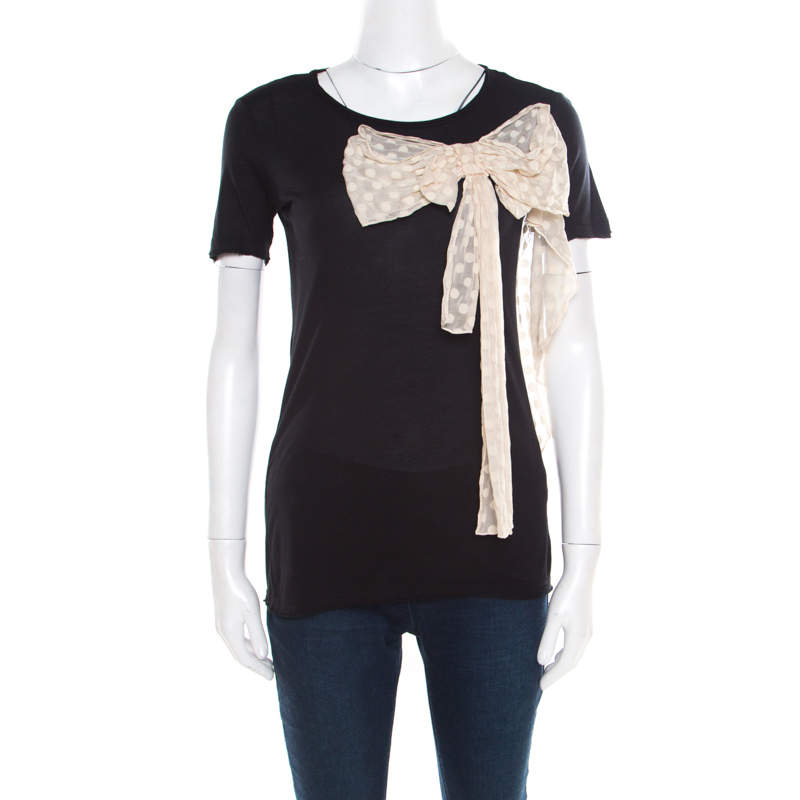 Red Valentino Black Jersey Contrast Bow Detail Raw Edged Top XS