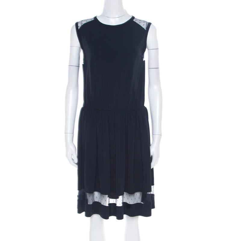 RED Valentino Navy Blue Sheer Lace Panel Insert Sleeveless Sheath Dress XL