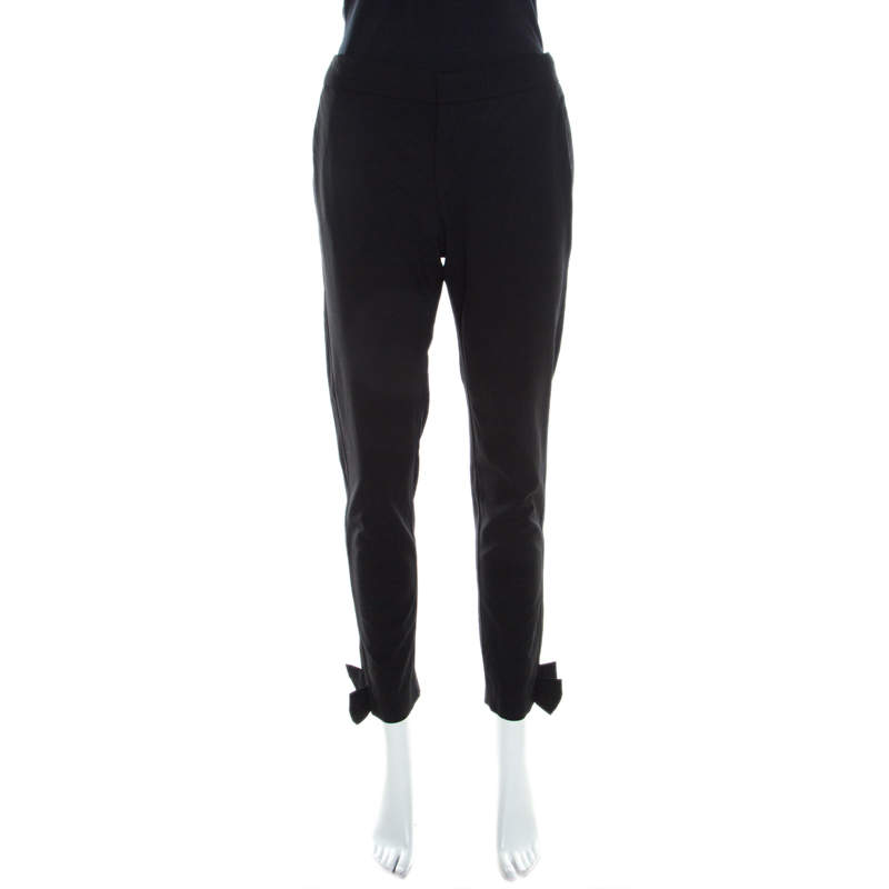RED Valentino Black Wool Ankle Bow Detail Tapered Trousers M