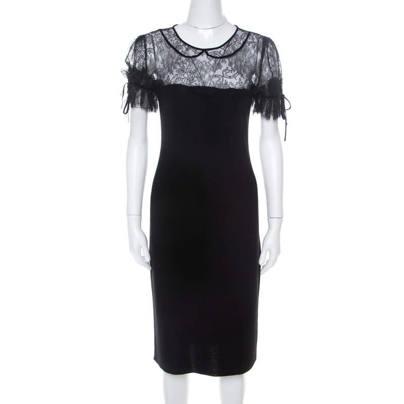 RED Valentino Black Wool Jersey Floral Lace Trim Midi Dress S