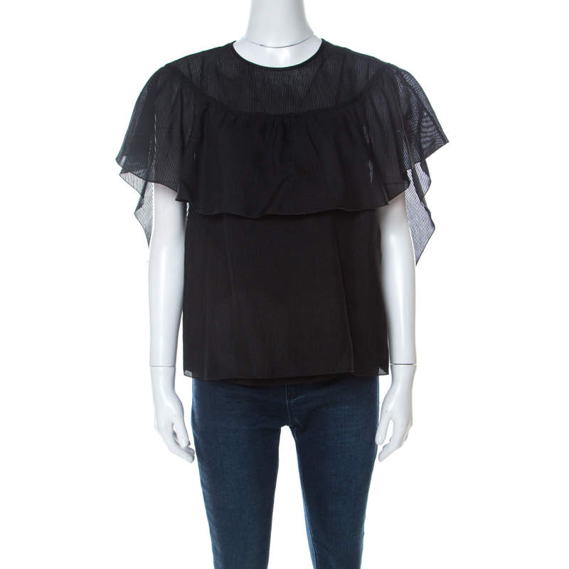 RED Valentino Black Cotton Silk Blend Ruffle Top M