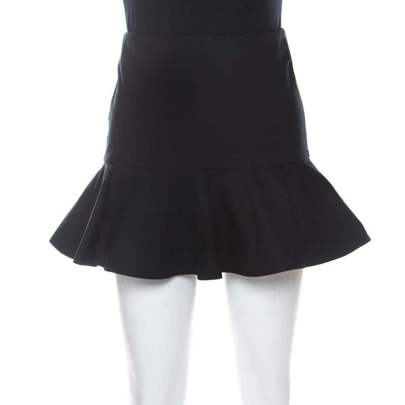 Red Valentino Black Cotton-Blend Ruffle Mini Skirt XS