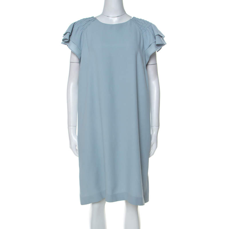 Red Valentino Pale Blue Crepe Ruffled Sleeve Shift Dress L