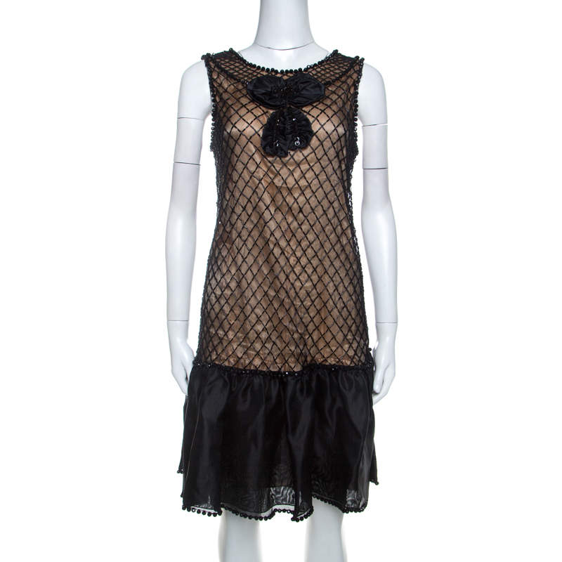 Red Valentino Black Beaded Lace and Silk Ruffle Detail Short Dress L