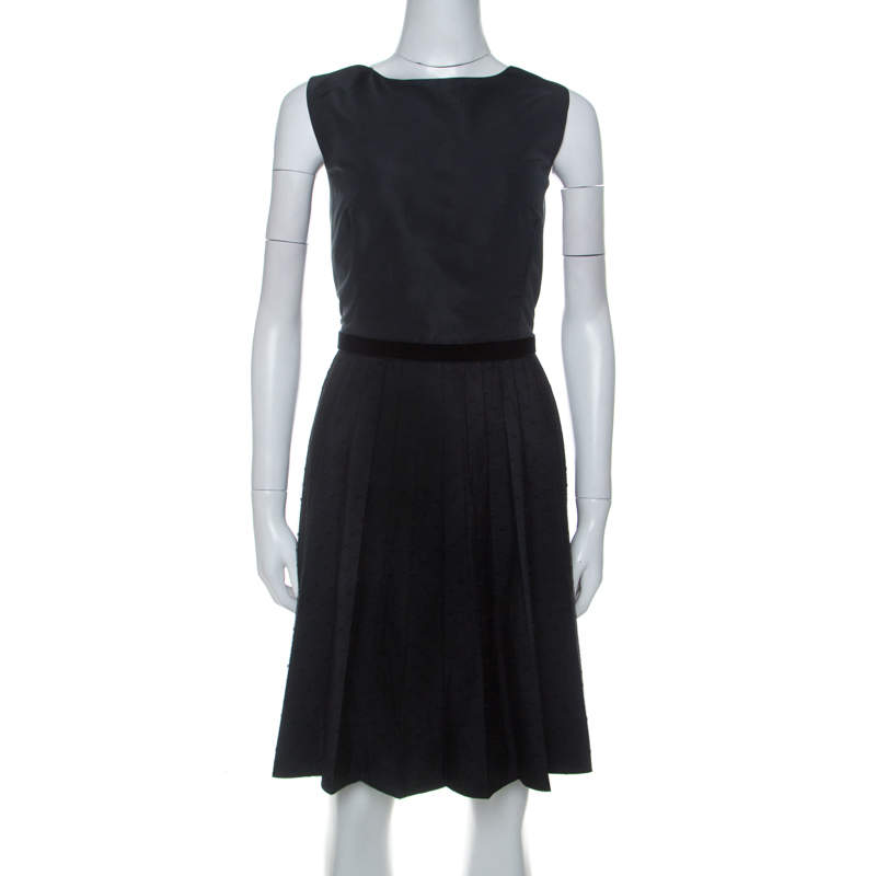 RED Valentino Black Pleated Lace Skirt Detail Sleeveless Dress L