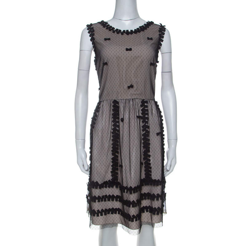 RED Valentino Beige Crepe and Taffeta Contrast Lace Overlay Dress L