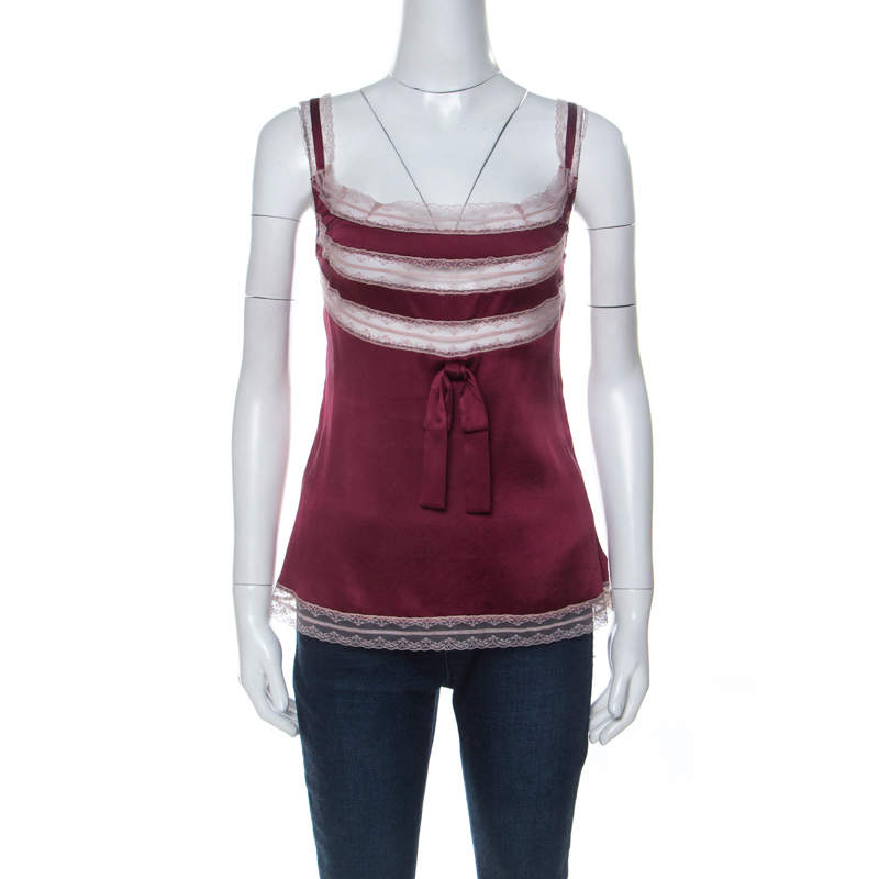 RED Valentino Maroon Stretch Silk Lace Camisole M