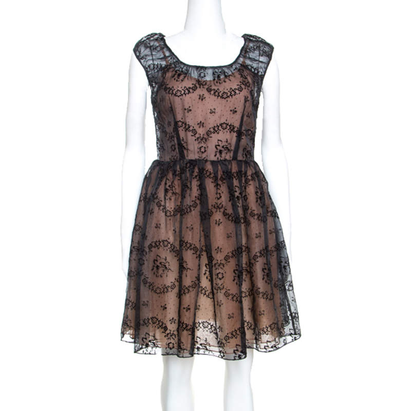 RED Valentino Black Floral Burnout Organza Short Dress S