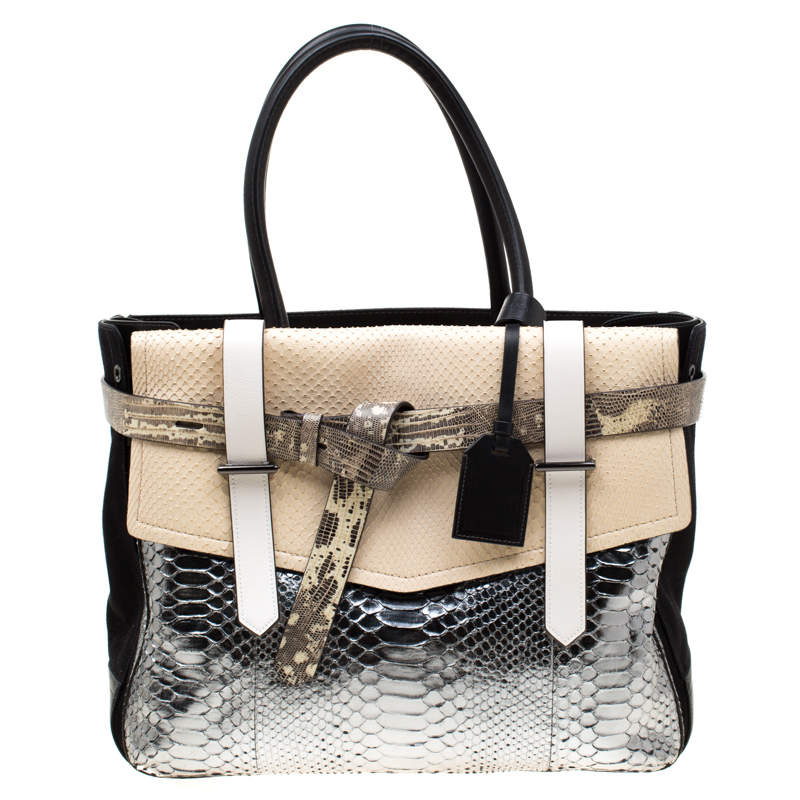 Reed Krakoff Multicolor Exotic Skin, Canvas and Leather Boxer Tote
