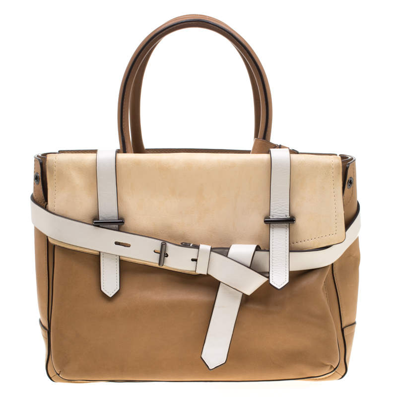 Reed Krakoff Brown/Beige Leather Boxer Tote