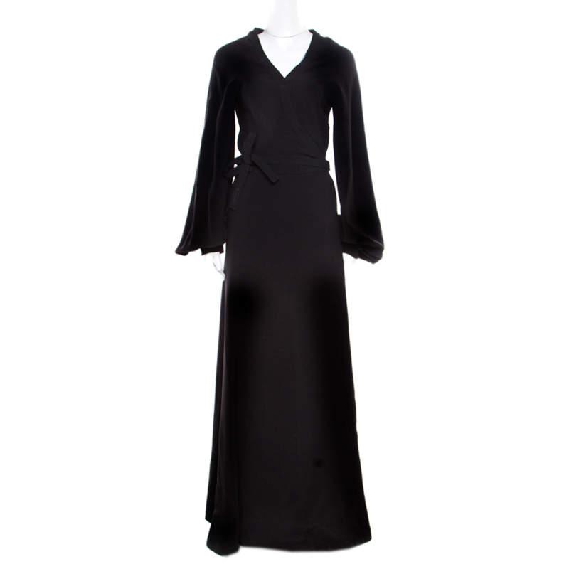 Reem Acra Black Silk Maxi Wrap Dress L