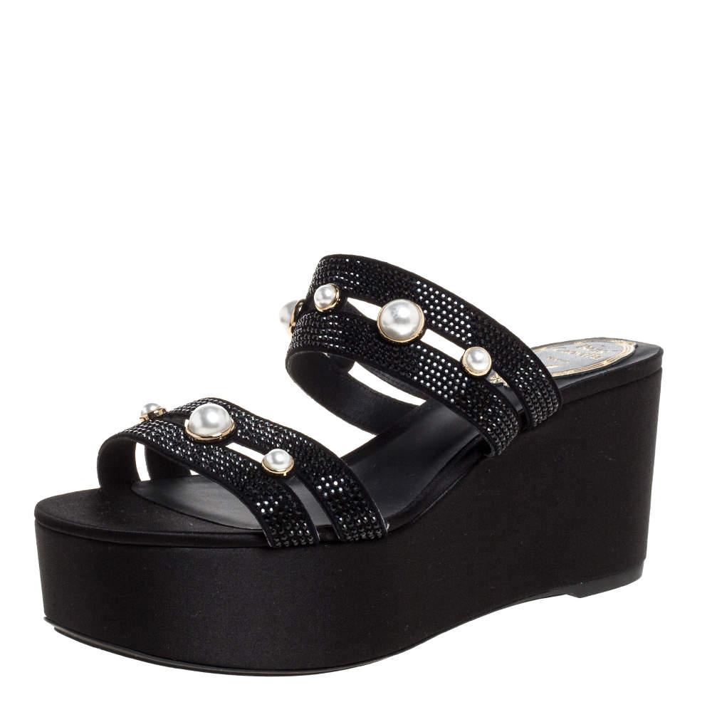 René Caovilla Black Crystal Embellished Suede Leather Lucia Wedge Platform Sandals Size 37