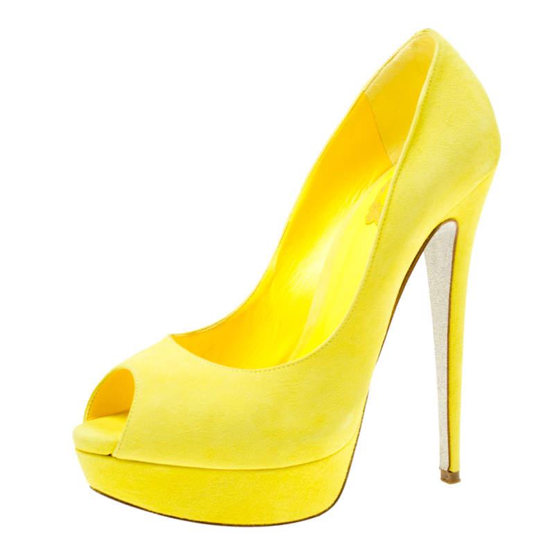 René Caovilla Yellow Suede Peep Toe Platform Pumps Size 39