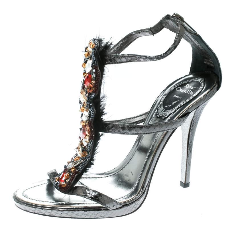 René Caovilla Grey Python Crystal Embellished Strappy Sandals Size 38
