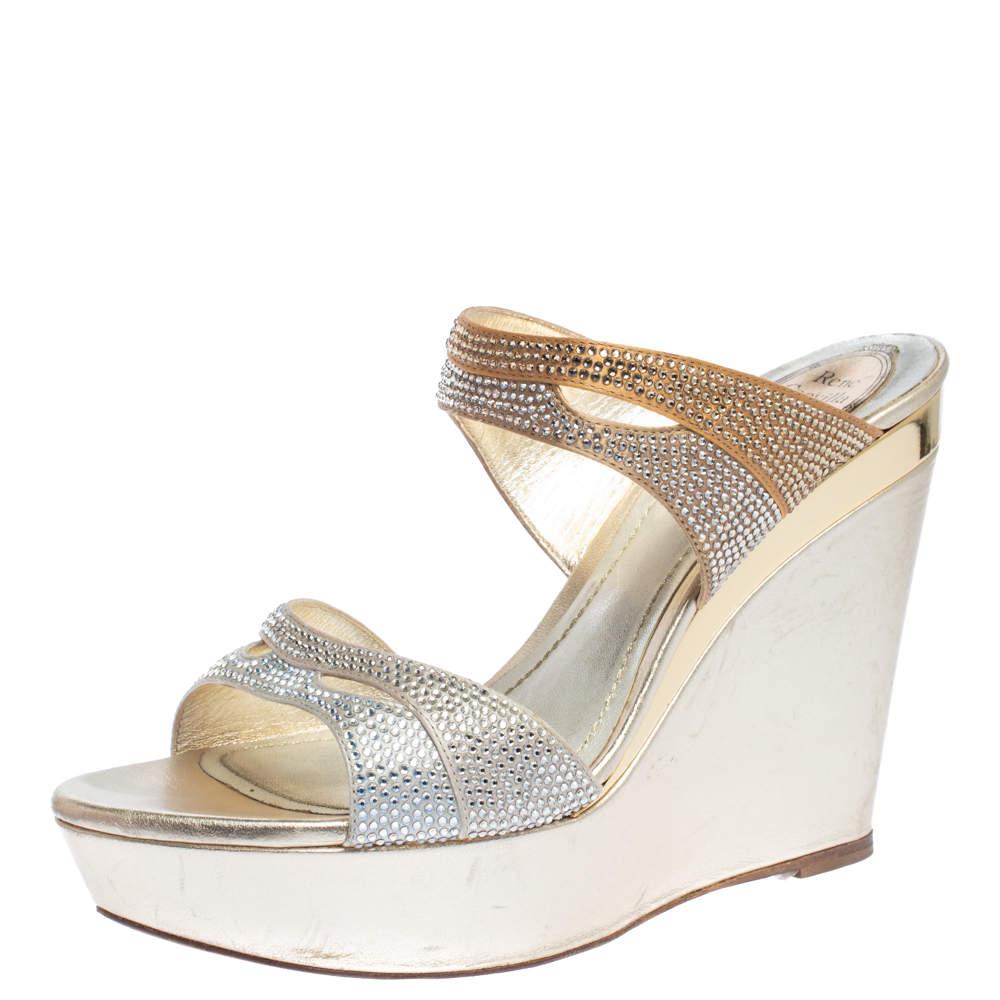 René Caovilla Metallic Gold/Silver Crystal Embellished Satin Wedge Slides Size 38