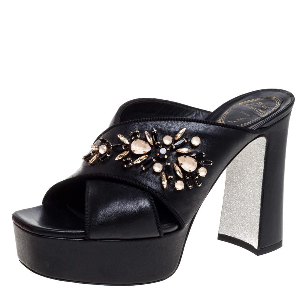 René Caovilla Black Leather Crystal Embellished Cross Strap Peep Toe Platform Mules Size 38
