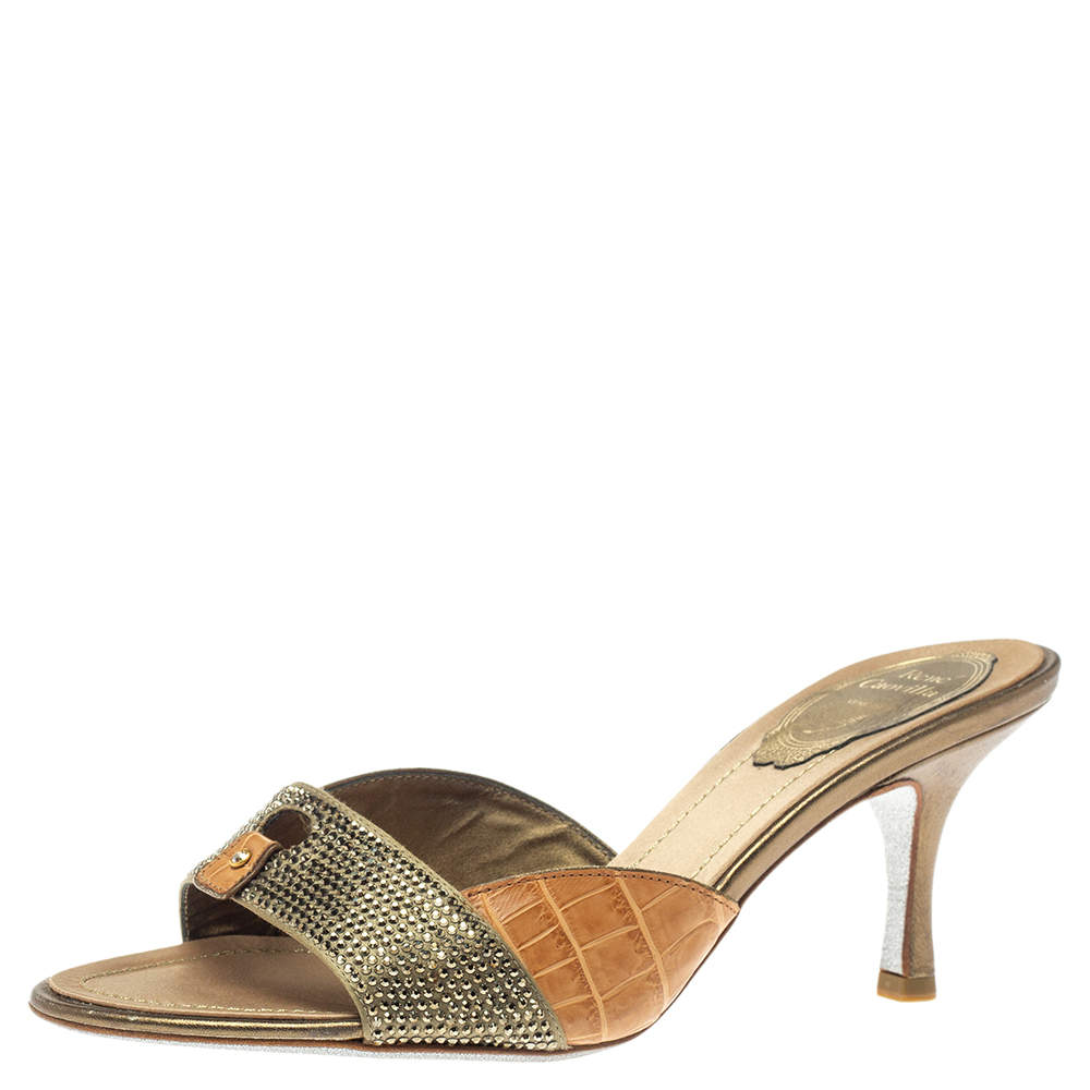 Rene Caovilla Brown/Olive Green Alligator Leather And Satin Crystal Embellished Open Toe Sandals Size 37