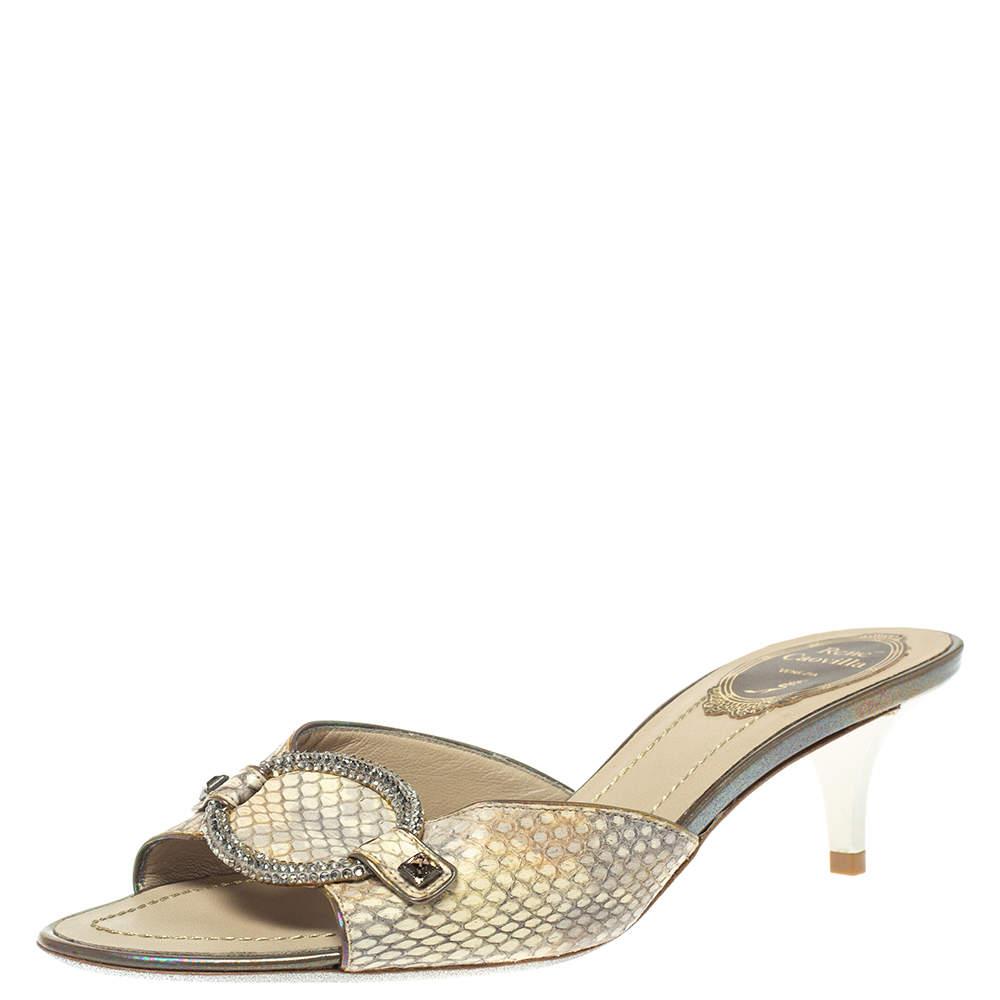 Rene Caovilla Cream Python Crystal Embellished Slide Sandals Size 37