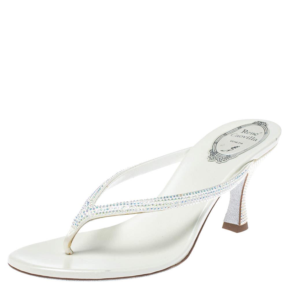 René Caovilla White Satin Crystal Embellished Thong Sandals Size 38