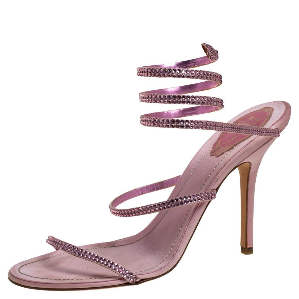 René Caovilla Pink Satin Crystal Embellished Ankle Wrap Open Toe Sandals Size 40