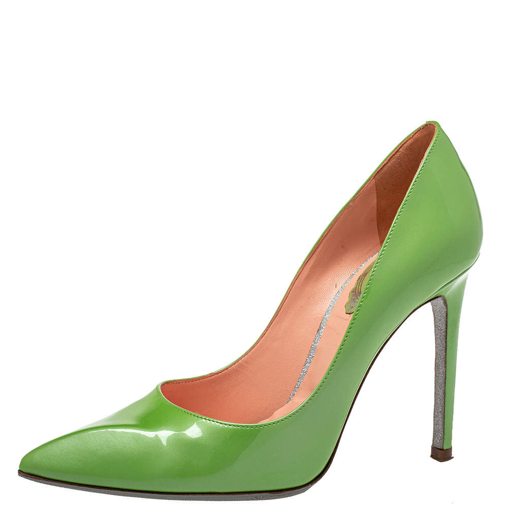 René Caovilla Green Patent Leather Pointed Toe Pumps Size 35.5