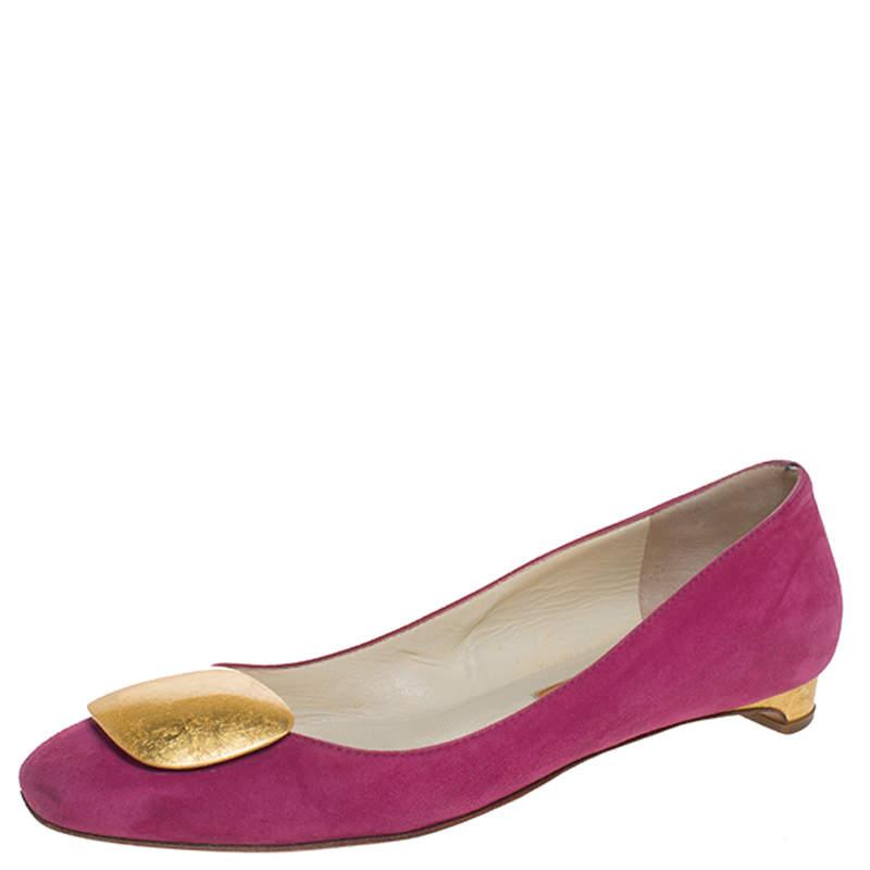Rupert Sanderson Pink Suede Leather Ballet Flats Size 37.5