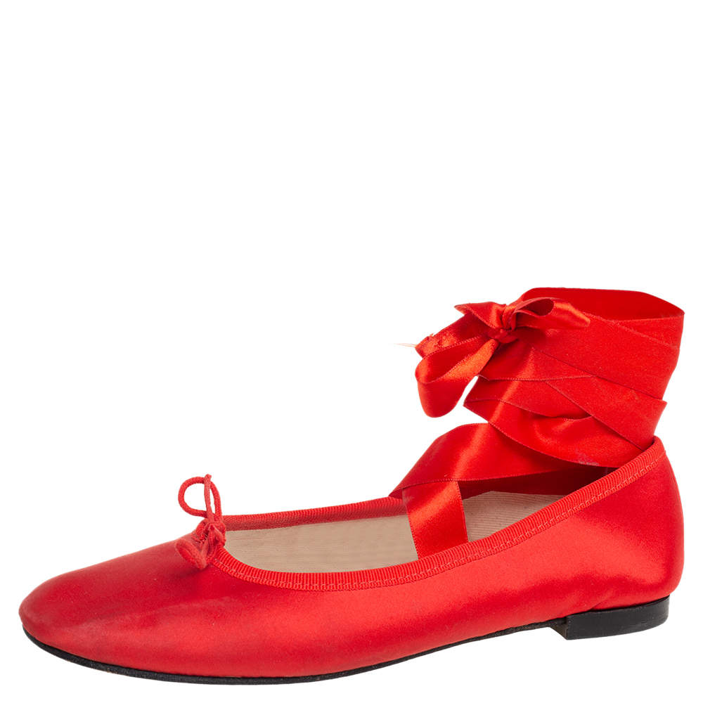 Repetto Red Satin Anna Bow Ballerina Ankle Wrap Flats Size 38