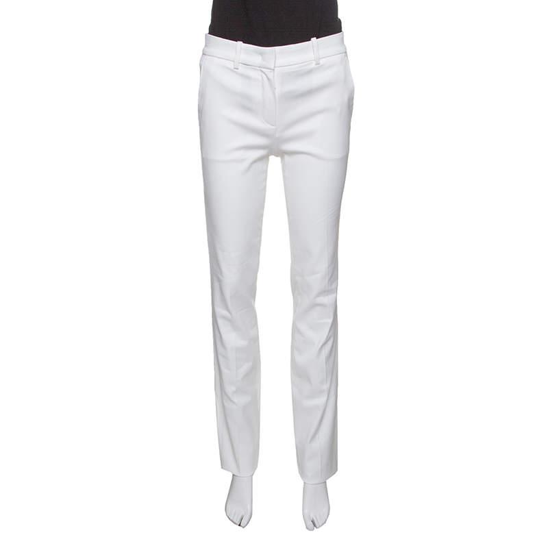 Roberto Cavalli Firenze White Cotton High Waist Straight Fit Pants S