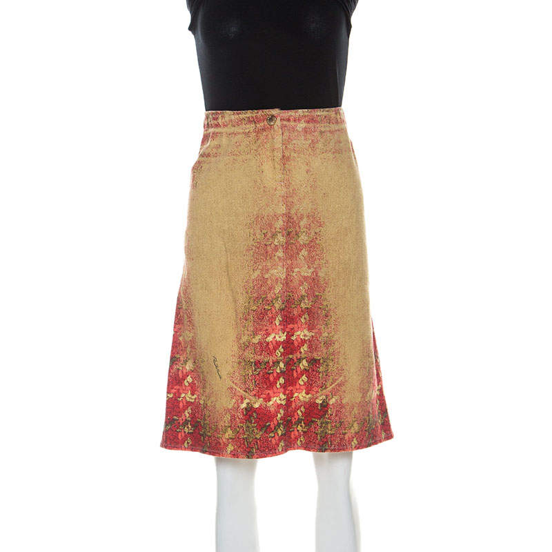 Roberto Cavalli Multicolor Faded Houndstooth Print Denim Skirt S