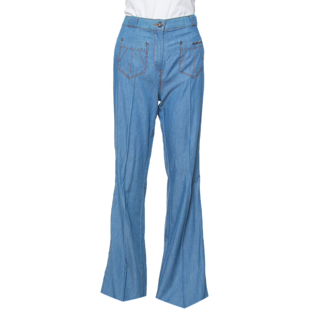 Roberto Cavalli Blue Light Denim Braid Trim Flared Pants M