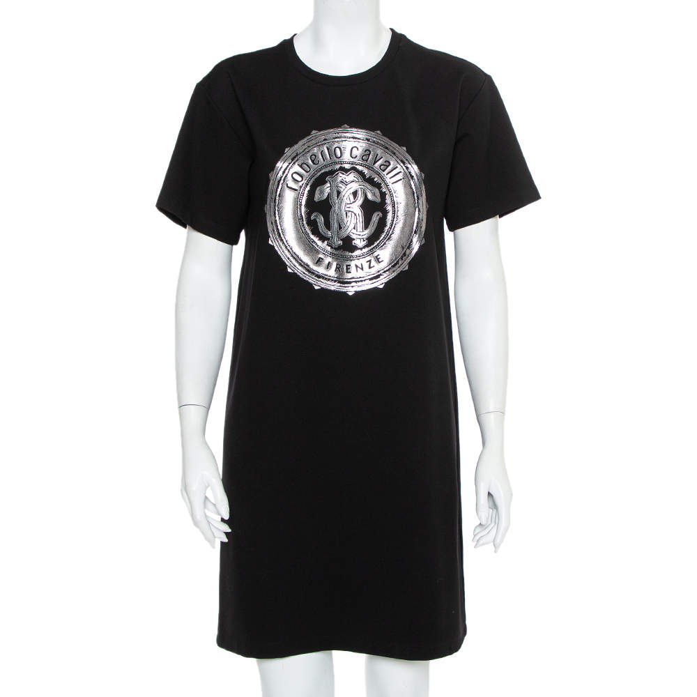 Roberto Cavalli Black Logo Printed Knit T-Shirt Dress M
