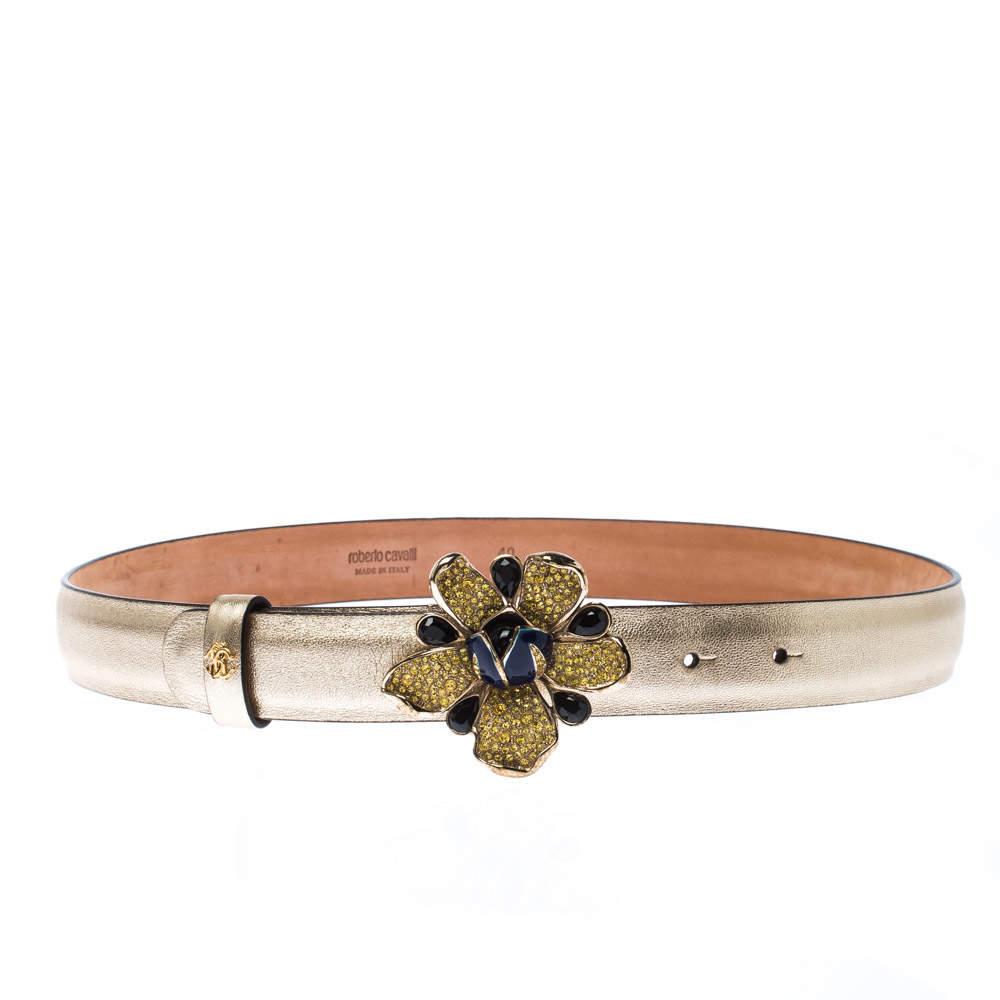 Roberto Cavalli Gold  Flower Embellished Leather Belt 80CM