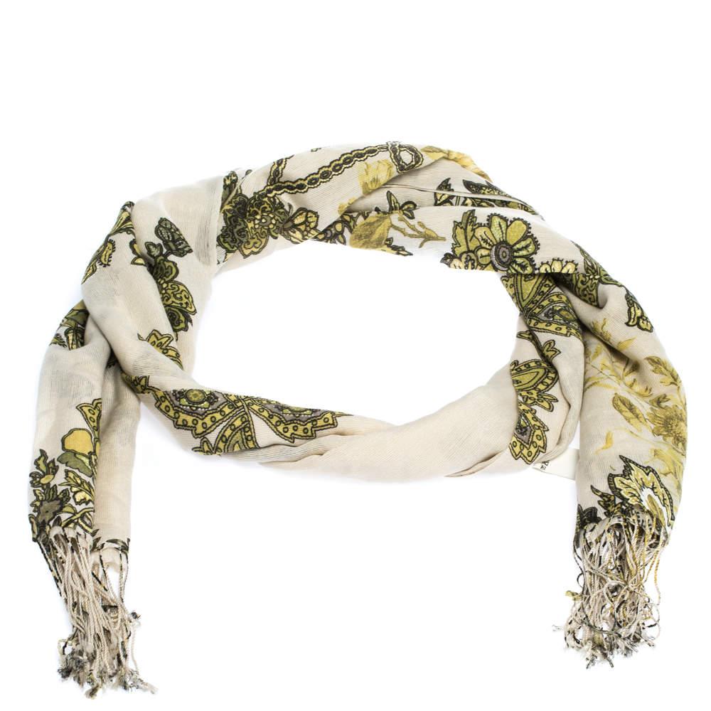 Roberto Cavalli White & Green Floral Printed Cashmere Stole