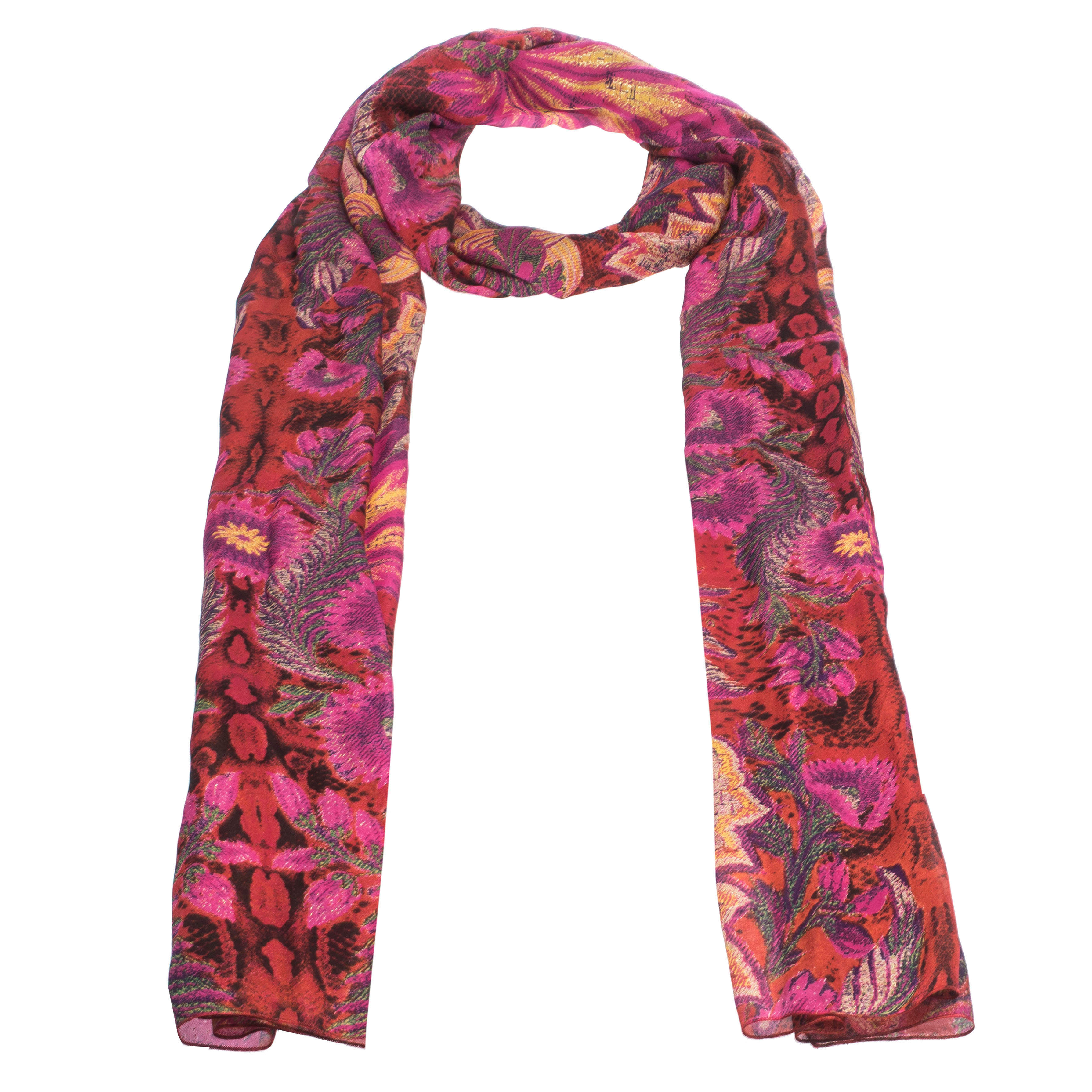 Roberto Cavalli Pink Abstract Floral Foil Printed Silk Stole