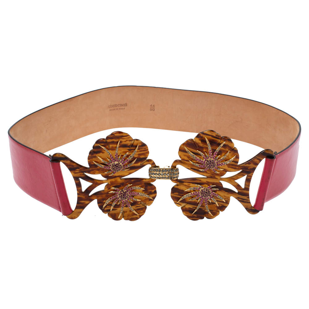 Roberto Cavalli Pink Floral Cut Out Patent Leather Crystal Embellished Buckle Belt 90CM