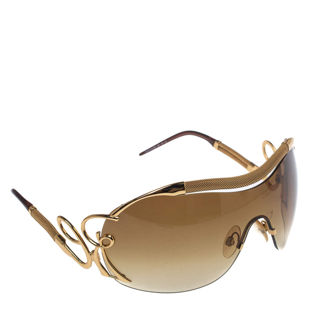 Roberto Cavalli Gold/ Brown Gradient 392S Lacedemone Shield Sunglasses