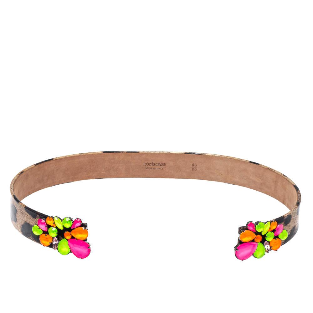 Roberto Cavalli Animal Print Leather and Multicolor Jewel Embellished Open Cuff Belt 85CM