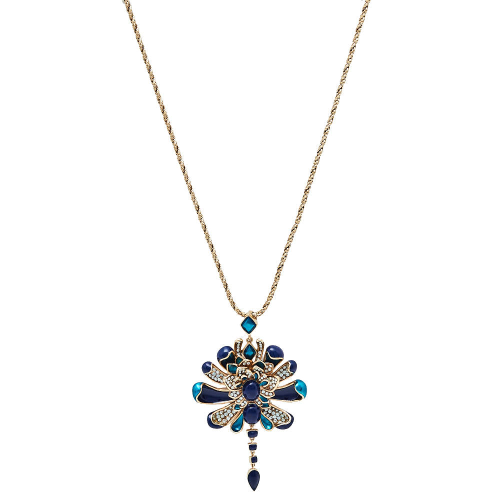 Roberto Cavalli Blue Floral Crystal Pendant Chain Necklace
